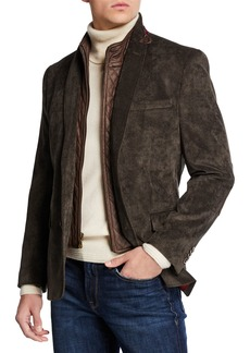 English Laundry Men's Huston Blazer with Faux Suede Bib