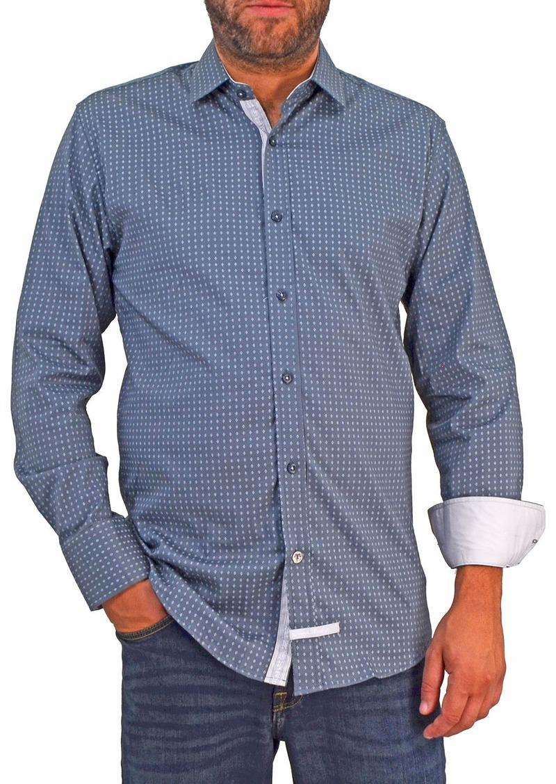 English Laundry Men's Printed Long-Sleeve Sport Shirt