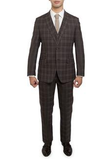English Laundry Men's Slim Fit Plaid Soft-Wool 3-Piece Suit  Brown