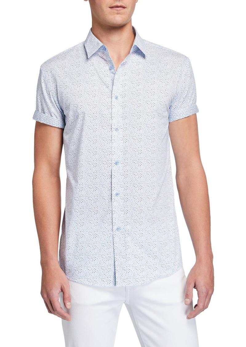 English Laundry Men's Speckled Short-Sleeve Cotton Sport Shirt