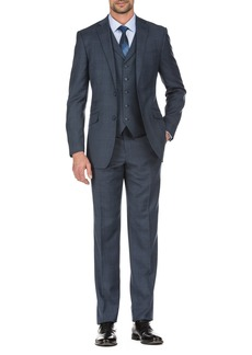 English Laundry Navy Glen Plaid Slim Fit 3-Piece Notch Lapel Wool Suit