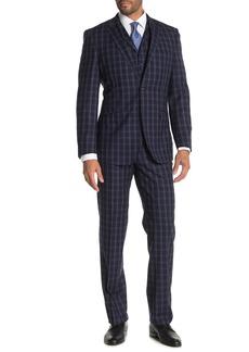 English Laundry Navy Plaid Two Button Notch Lapel Pick Stitch Vested Wool Slim Fit 3-Piece Suit