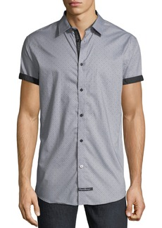 English Laundry Pin-Dot Short-Sleeve Sport Shirt