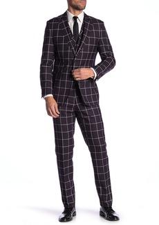 English Laundry Purple Windowpane Two Button Peak Lapel Vested Suit