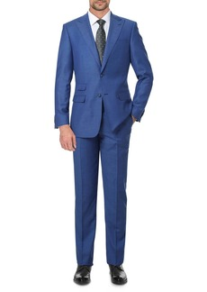 English Laundry Solid Blue Slim Fit Two Button Notch Lapel Wool Suit