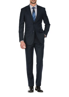 English Laundry Solid Navy Two Button Peak Lapel Wool Suit