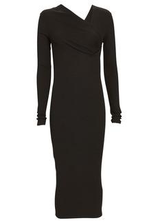 Enza Costa Asymmetrical Rib Knit Midi Dress