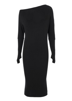 Enza Costa Off Shoulder Thumbhole Knit Dress