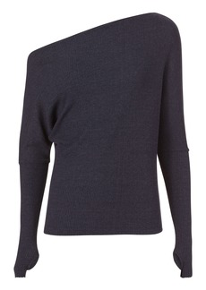 Enza Costa Off Shoulder Thumbhole Navy Sweater