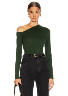 Enza Costa Angled Exposed Shoulder Long Sleeve Top