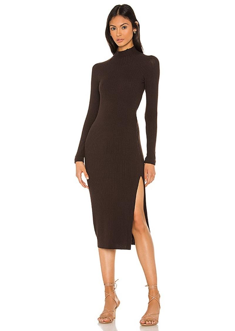 Enza Costa Brushed Rib Long Sleeve Raglan Midi Dress