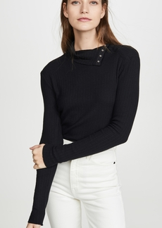 Enza Costa Brushed Rib Split Collar Shirt