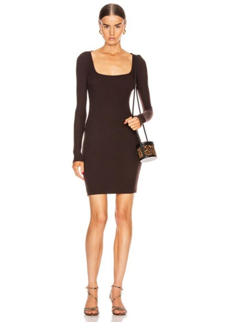 Enza Costa Brushed Rib Square Neck Mini Dress