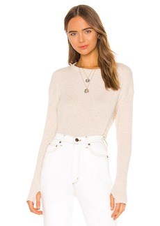 Enza Costa Cashmere Blend Thermal Loose Cropped Long Sleeve Top