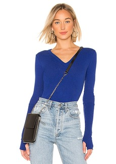 Enza Costa Cashmere Cuffed V Neck