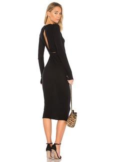 Enza Costa Cashmere Draped Back Midi Dress in Black. - size 0 / XS (also in 1 / S,3 / L)