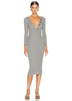 Enza Costa Cashmere Poorboy Rib Long Sleeve Henley Midi Dress