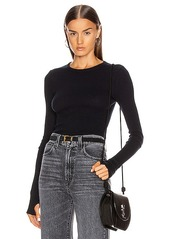 Enza Costa Cashmere Thermal Long Sleeve Cuffed Crew Top