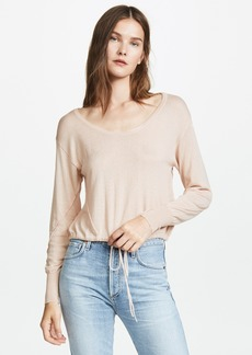 Enza Costa Cropped Drawcord Scoop Tee