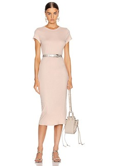 Enza Costa Doubled Short Sleeve Crew Midi Dress