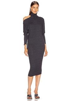 Enza Costa Heather Rib Exposed Shoulder Mock Midi Dress