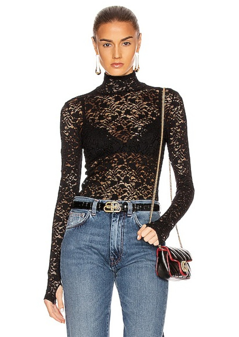 Enza Costa Lace Back Zip Long Sleeve Turtleneck Top