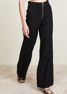 Enza Costa Linen Pintuck Wide Leg Pants