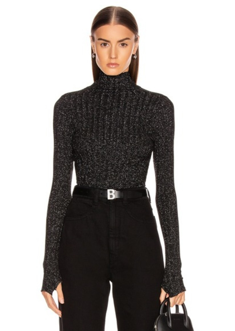Enza Costa Lurex Rib Cropped Turtleneck Top