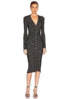 Enza Costa Lurex Rib Long Sleeve Cardigan Midi Dress