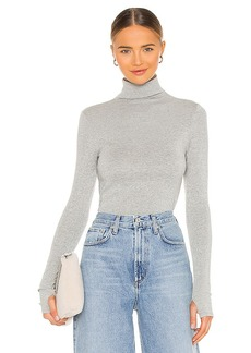 Enza Costa Lurex Rib Long Sleeve Fitted Turtleneck