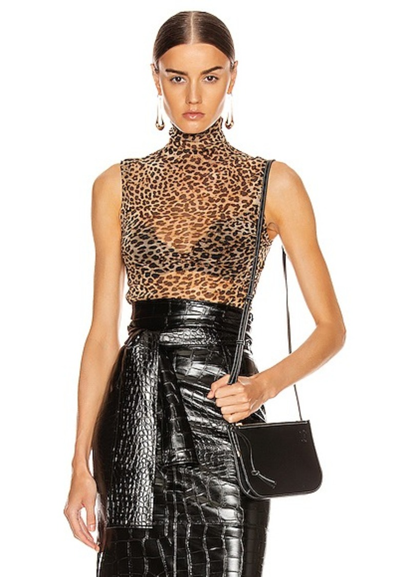 Enza Costa Mesh Sleeveless Turtleneck Top