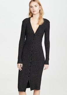 Enza Costa Metallic Rib Cardigan Midi Dress