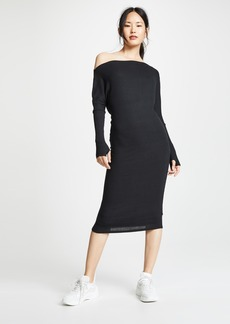 Enza Costa Rib Exposed Shoulder Midi Dress