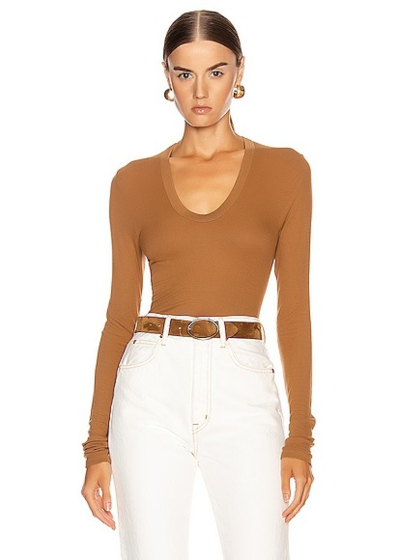 Enza Costa Rib Fitted Long Sleeve U Top