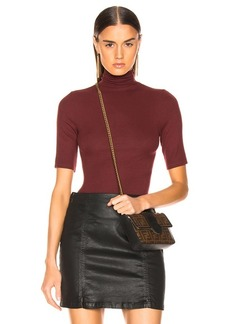 Enza Costa Rib Fitted Turtleneck Half Sleeve