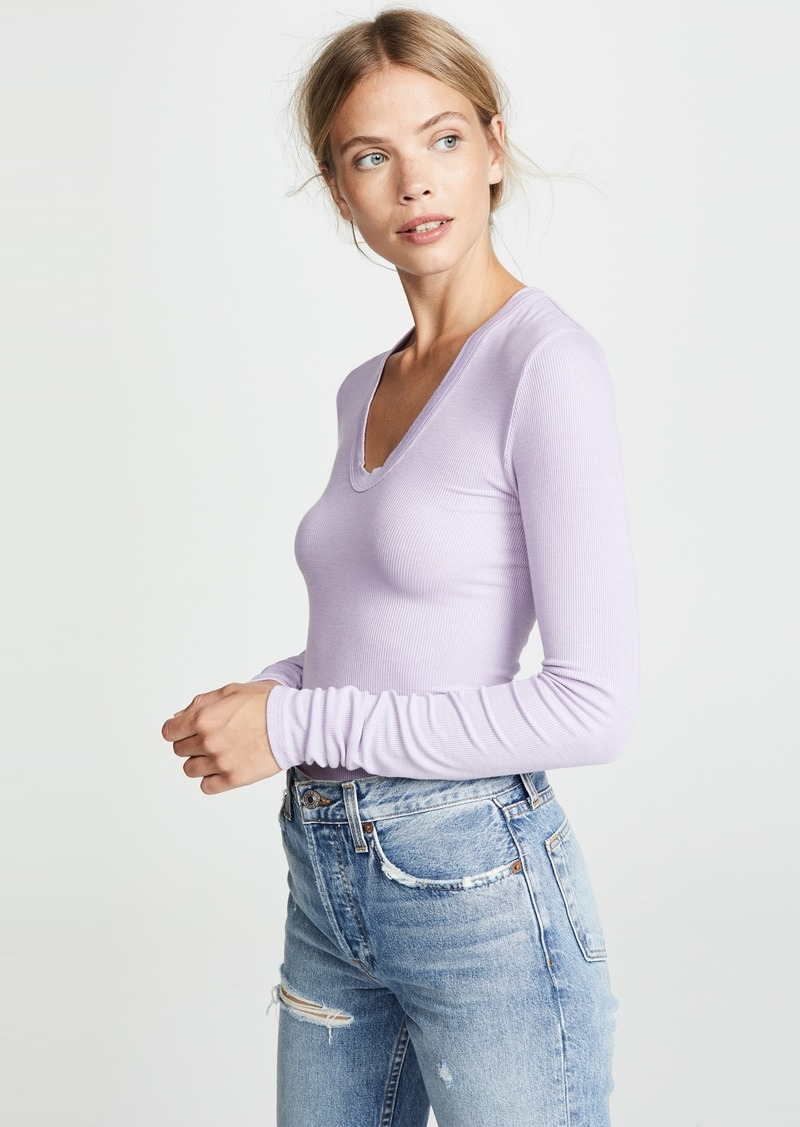 Enza Costa Rib Fitted U Neck Tee
