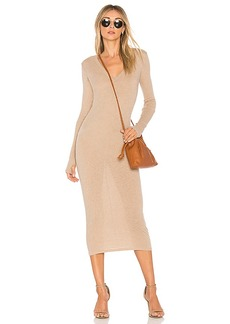 Enza Costa Rib Long Sleeve Dress in Brown. - size XS (also in L,M,S)