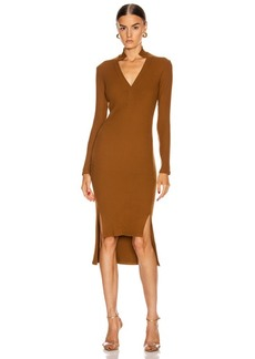 Enza Costa Rib Long Sleeve Step Hem Henley Dress