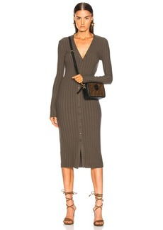 Enza Costa Rib Long Sleeve V Cardigan Midi Dress