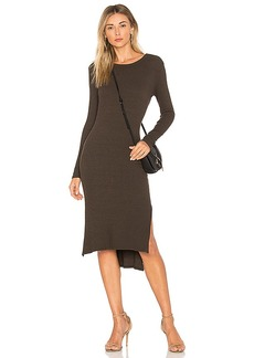Enza Costa Rib Midi Dress in Olive. - size XS (also in L,M,S)