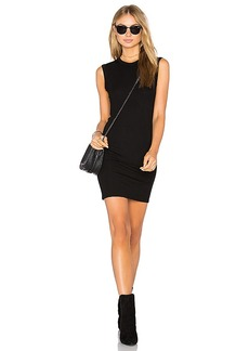 Enza Costa Rib Sleeveless Mini Dress in Black. - size L (also in M,XS)