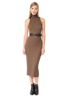 Enza Costa Rib Sleeveless Turtleneck Midi Dress