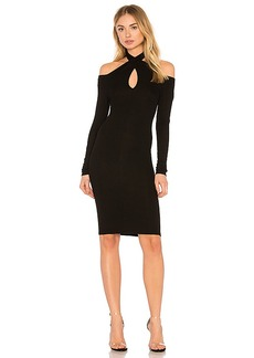 Enza Costa Rib Twist Dress in Black. - size M (also in S,XS)