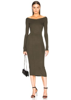 Enza Costa Rib Wide V Neck Dress