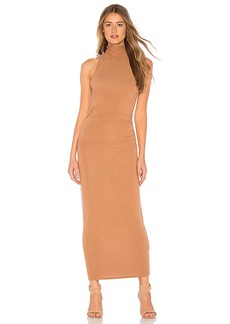 Enza Costa Ruched Turtleneck Midi Dress