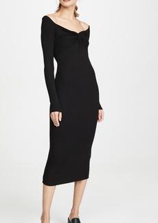 Enza Costa Silk Rib Off Shoulder Twist Midi Dress