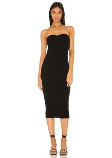 Enza Costa Silk Rib Strapless Sweetheart Midi Dress