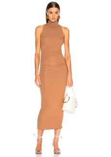 Enza Costa Sleeveless Side Ruched Turtleneck Midi Dress