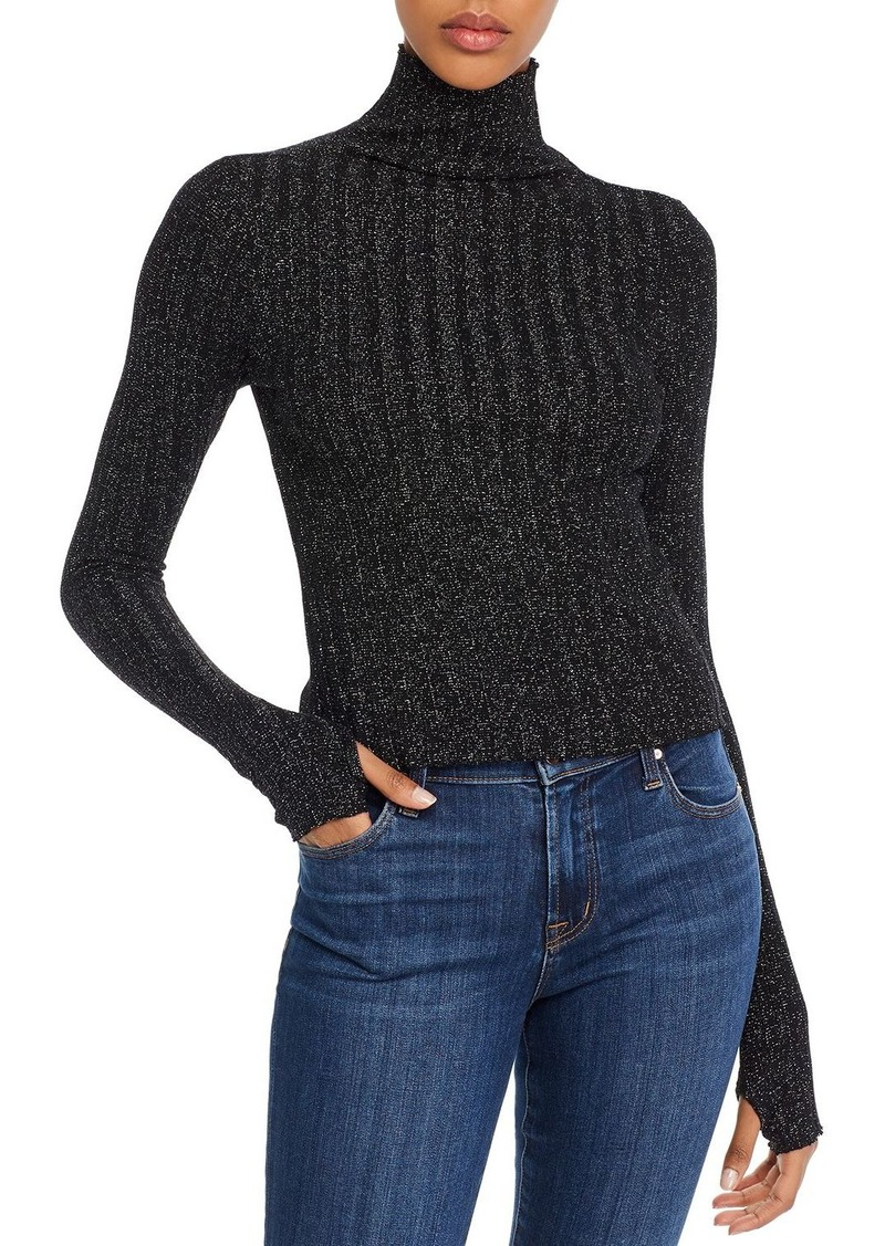 Enza Costa Sparkle-Knit Cropped Funnel-Neck Top