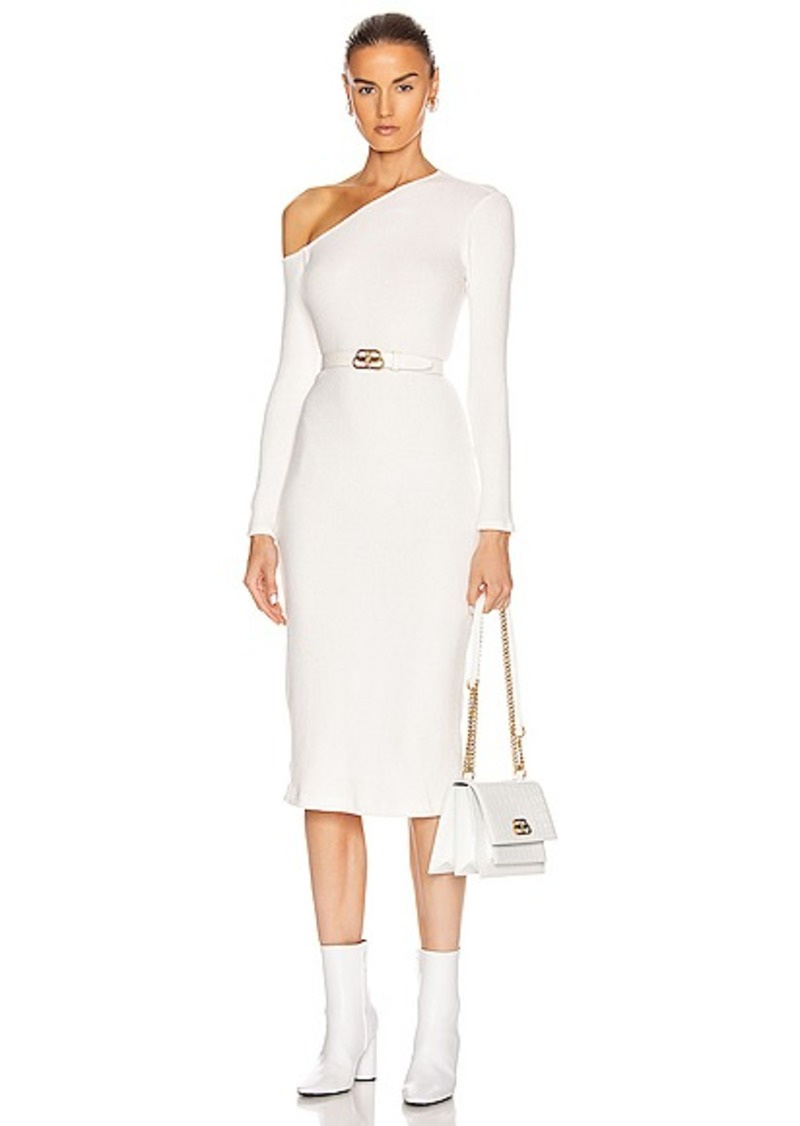 Enza Costa Sweater Knit Angled Neck Midi Dress